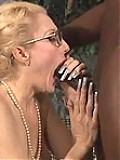 Radiant experienced blonde eating cock