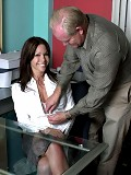 Mature brunette secretary sucks bosses cock