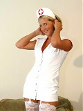 Naughty Nurse Wife in Garters and White Stockings