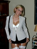 Hot Blonde Busty Babe in Business Attire & White Garter