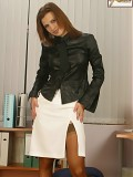 Office Temptress In Suntan Hold Up Nylons