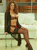 Brunette In The Business Suite In Lace Top Nylons