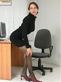 Skinny Brunette Office Babe Wearing Black Pantyhose