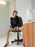 Mature Office Babe In Sheer Nude Nylons