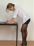 Upskirt Brunette Secretary In Short Mini Skirt