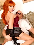 Redhead bitch in stockings play with an lucky guy