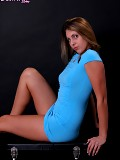 Sexy Deanna in a blue dress with no panties