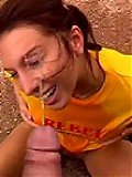 Kinky chick gets man's pee on her face outdoors