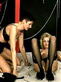 Latex mistress trains female sex slave pounding her pussy hard