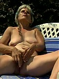 Drunk moms get naked outdoors and pound old pussies with dildos