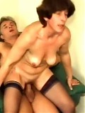 Mature brunette plays with dildo and blowjobs as a real slut