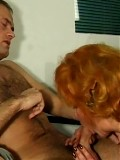 Horny redhead mom spreads her pussy then gets facial cum shot