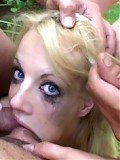 Dirty whore takes the load of three guys as the gags and swallows