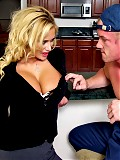 Hot housewife Shyla Stylez fucking the gardener in her kitchen
