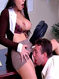 Stunning babe Mikayla gets pussy fucked in her office by the mailman