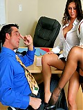 Stunning office babes Rachel Lyn and Brooke Haven fucked on the desk