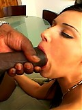 White slut rides a white cock and sucks on a black monster