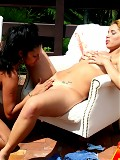 Horny lesbians in fisting action