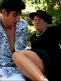 Granny gets clit licked outdoors