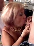 Cocksucking granny gets faceful of jizz