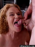Granny gets licked dicked and jizzed on