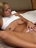 Bitch Sandra explodes cum after fingerfucking her shave pussy