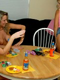 These 3 milfs are gettin naked during poker and getin wet during the rug munching