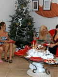 These milfs are playin secret santa with eachothers pussies in these gallys