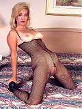 Hot mom in a fishnet bodystocking