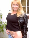 Gorgeous blonde mom Christine in the garden