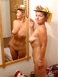 Blonde mom Mary totally nude at home