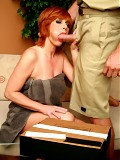 Calliste is a mature redhead who takes a the mailmans hard package