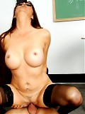 Mature brunette teacher rides a young cock like a champ