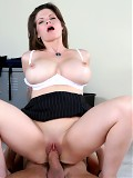 Mature brunette teacher with huge tits rocks one of her students world