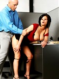 Busty short-haired office babe sucks a big cock then rides it hard