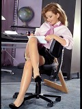 Secretary Helene shows legs in stockings