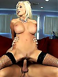 Perfect blonde cougar with huge tits gets fucked hard
