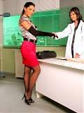 Zafira goes to see her gynecologist, Dr. Nikita, with a very serious problem: her boyfriend's cock is too big for her.