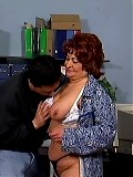 Horny old maid fucks her boss on the desk
