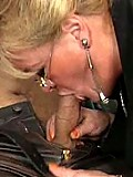 Fat blonde in her early 60s enjoying thick cock