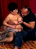Plumper granny rides on top of her lover's cock
