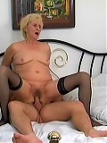Blonde granny takes a cock in her snatch