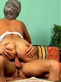 Sexy old lady takes anal on the couch