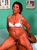 Wrinkled granny sucks dick and straddles his lap