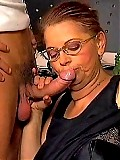 Horny granny penetrated by young stud