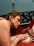 Two mature lesbians play with sex toys