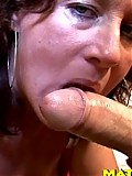 Mature slut playing and munching on cock till it cums
