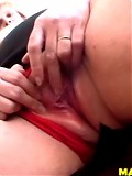 Blonde mature slut playing with her cunt
