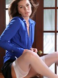 Hot Secretary in blue dress and stockings