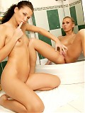 Naughty lesbos get busy in the shower